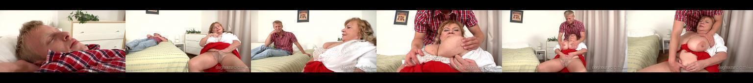 Młody chłopak grzeje napaloną, grubą babcię