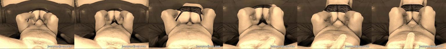 Facet wylizuje własną spermę z cipki w którą przed chwilą się spuścił... w niemym filmie