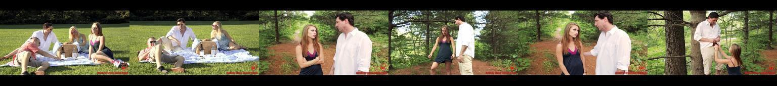Ojciec posuwa córkę w lesie, na rodzinnym pikniku