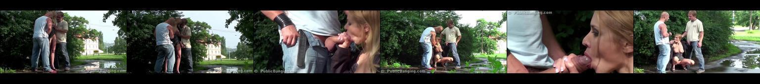 Blondyna zapinana w parku przez dwóch typów
